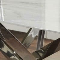 MODERN SILVER STAINLESS STEEL METAL & WHITE MARBLE GLASS TOP DINING TABLE